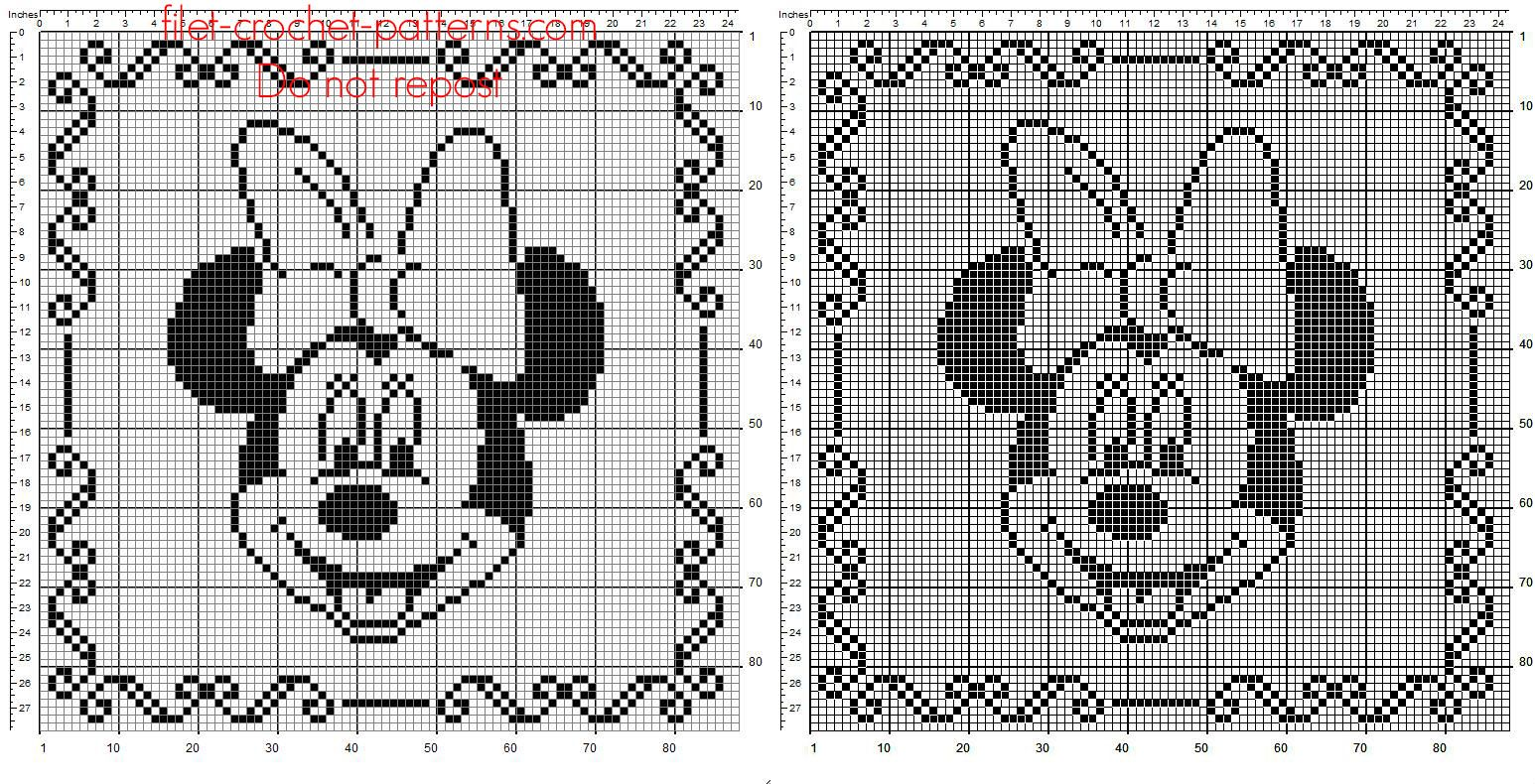 Children pillow crochet filet with Disney Minnie face free pattern ...