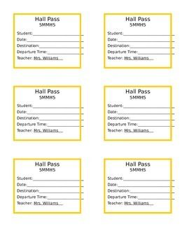 Freebie Hall Pass Template Editable Hall Pass Teachers Pay Teachers Free Teaching Ela