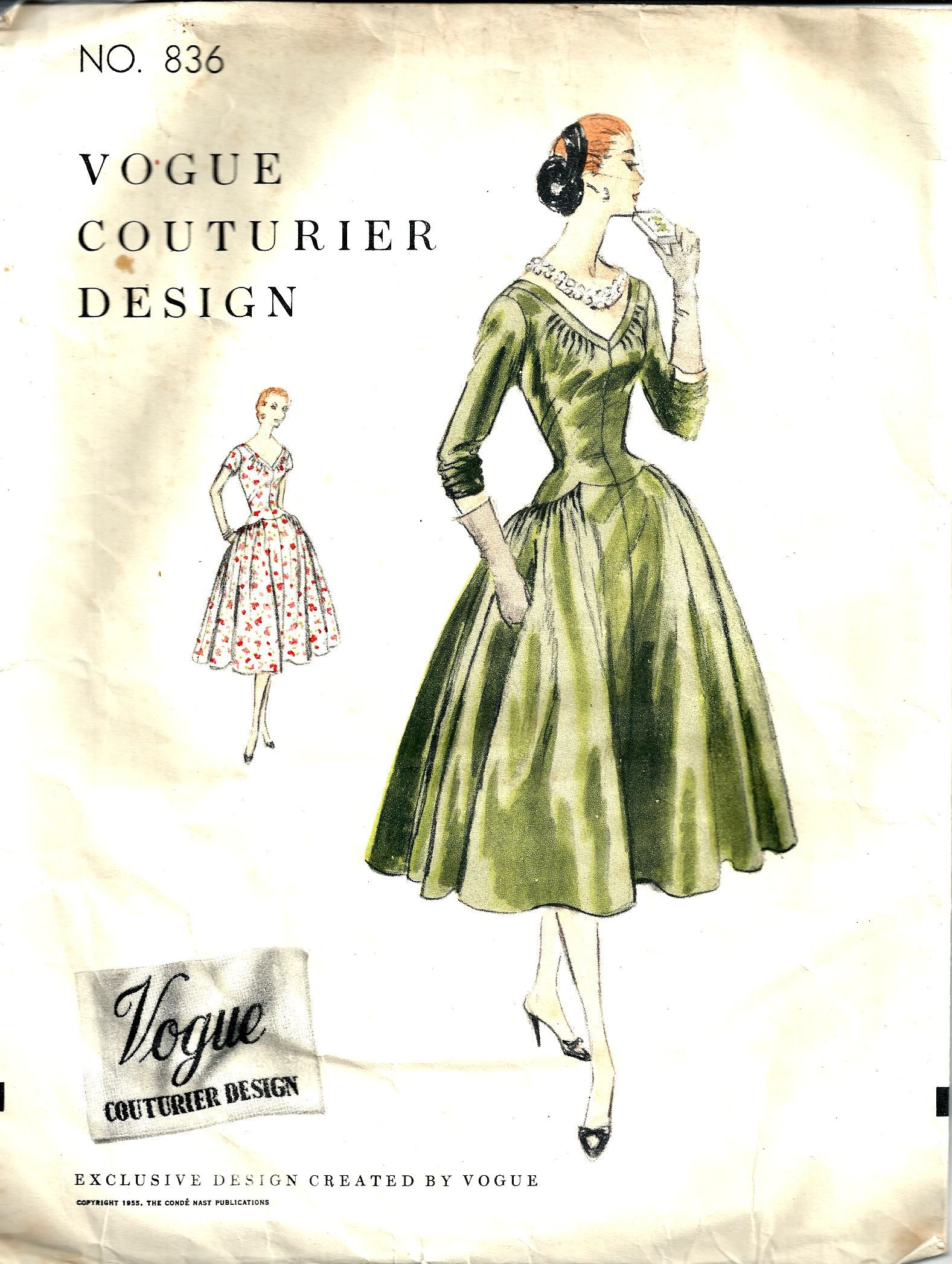 Vintage Sewing Pattern Dress Vogue Couturier 836