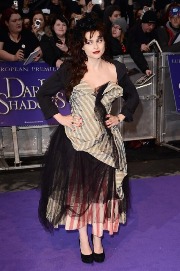 #fashiontothepeople Helena Bonham Carter dressed in Westwood couture at the London premiere of Dark Shadows