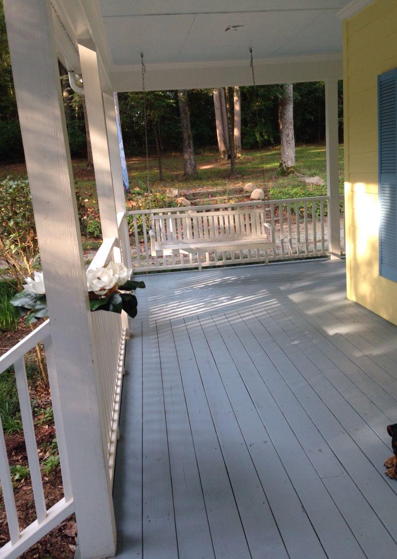 Painted Front porch using Valspar Porch and Floor Paint Paint. Color-Lazy River. ❤️ it!
