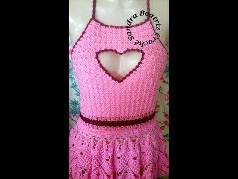 6ba2c3e1f2d26 Vestido de Crochê Coração 1ª Parte