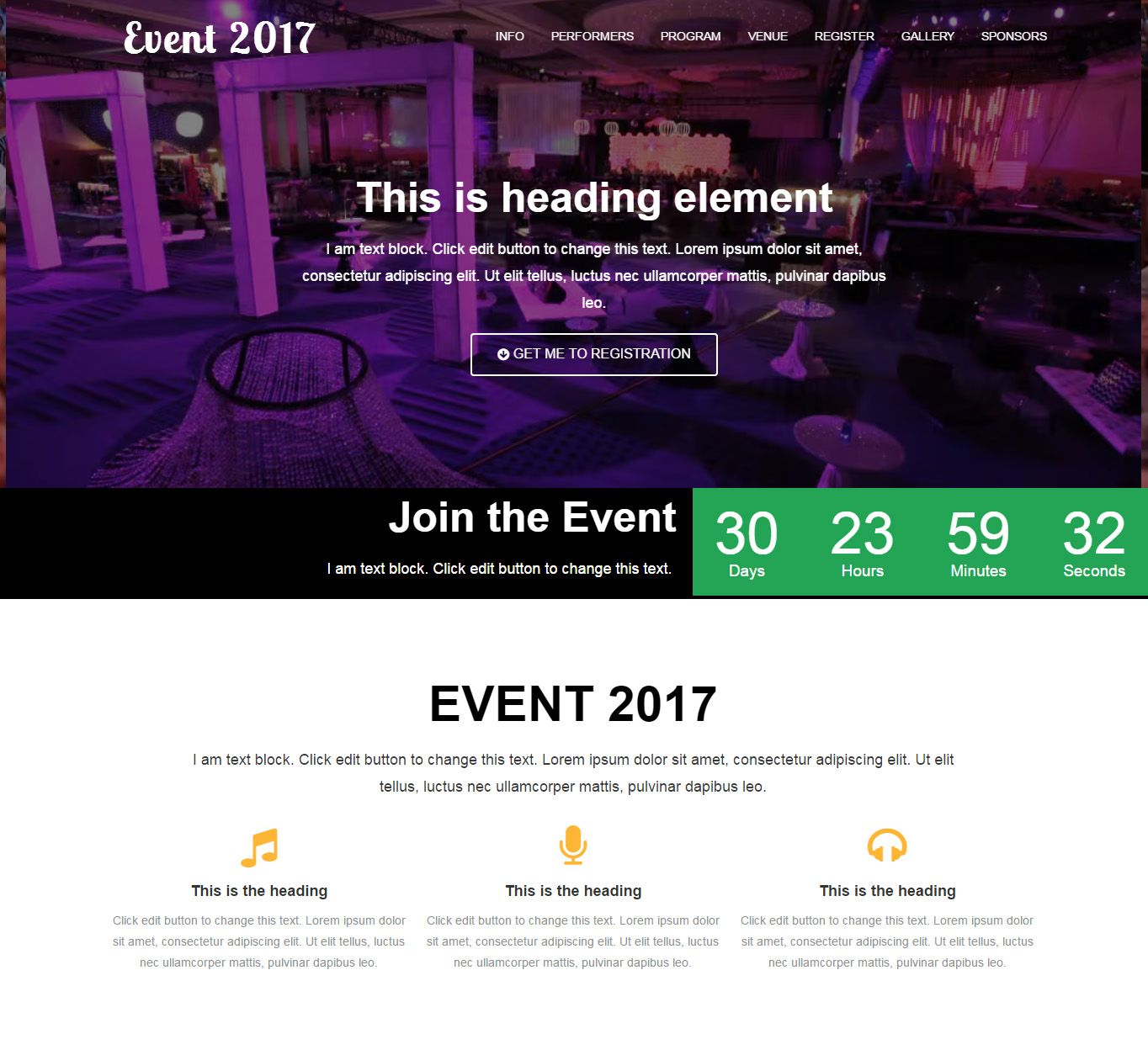 Event One Page Website Template for Elementor #MakeInElementor ...