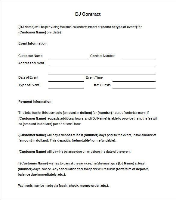 6  dj contract templates  u2013 free word  pdf documents