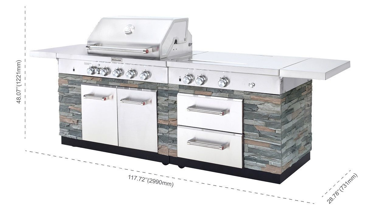 Kitchenaid Stone Island 9 Burner Grill In 2020 Kitchen Aid Outdoor Kitchen Stone Island