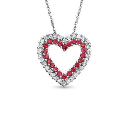 Lab Created Ruby And Diamond Accent Heart Pendant In