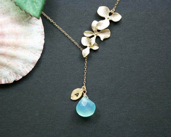 custom birthstone and initial leaf necklace...really reasonable price and so pretty!