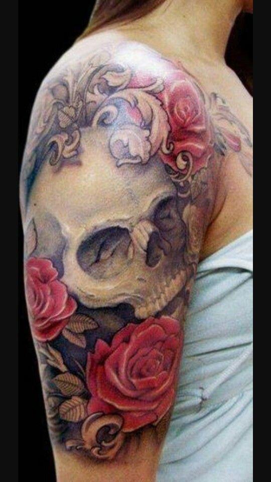 Skull Roses Half Sleeve Tattoos Piercings ツ Tattoos Rose