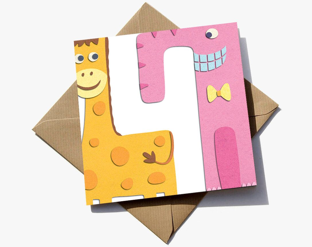 FREE delivery – 4th birthday card suitable for a girl, where the number is revealed in the negative space by RoisinCafferty on Etsy https://www.etsy.com/uk/listing/234063603/free-delivery-4th-birthday-card-suitable