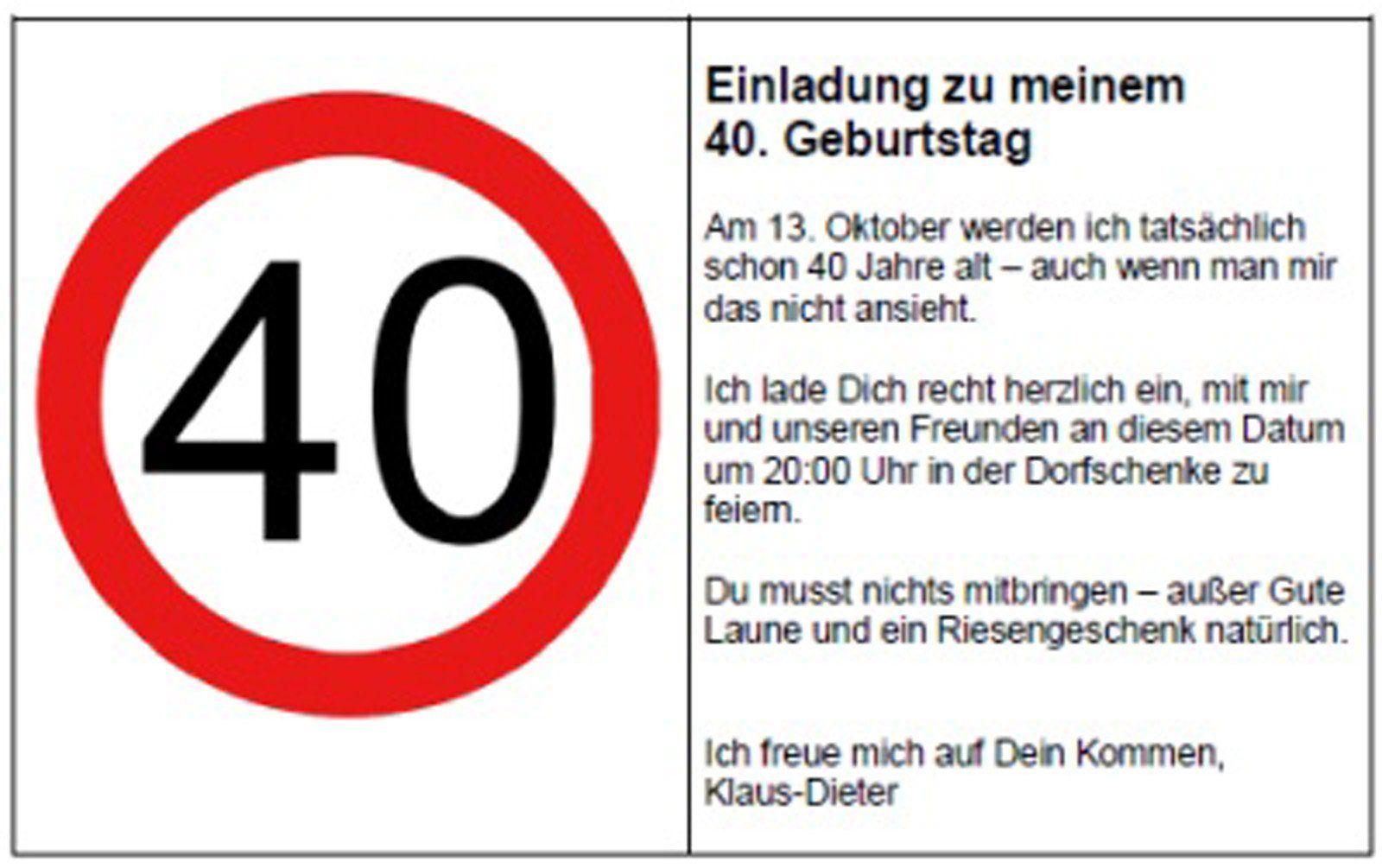 einladung geburtstag : einladungen 40 geburtstag - geburstag, Einladungsentwurf