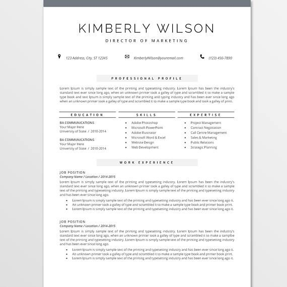 Resume Template For MS Word Professional CV Template