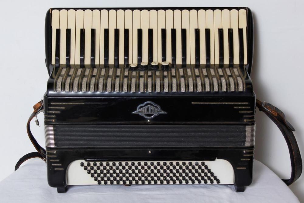 Vintage Black Folk Accordion 24 Keys 20 5