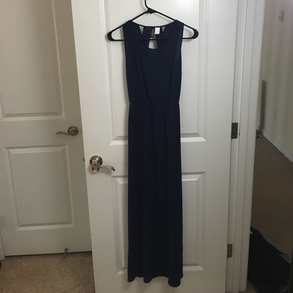 Navy blue chiffon dress from hum products
