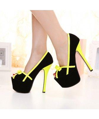 Shiny Yellow Bow Decoration Peep Toe Black High Heels