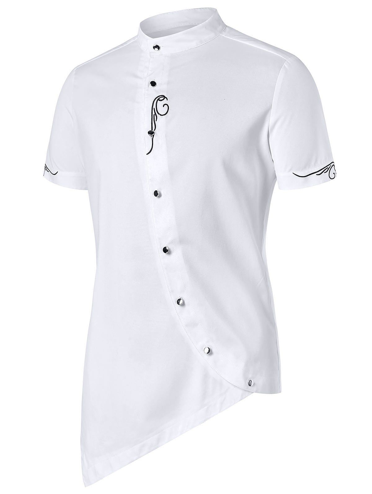 Stand Collar Shirts Designs : Asymmetric embroidery stand collar shirt white xl men s