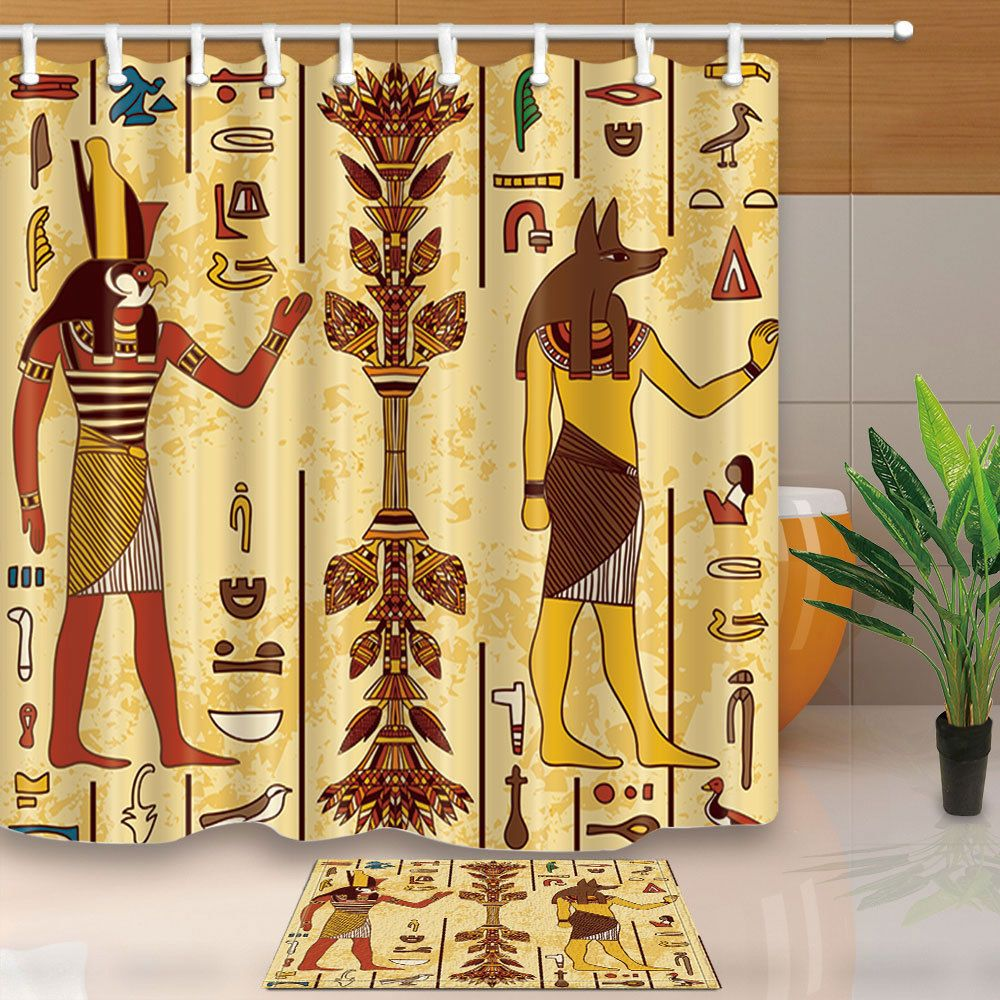 Egyptian Fabric Shower Curtain Set Egyptian Gods And Hieroglyphs