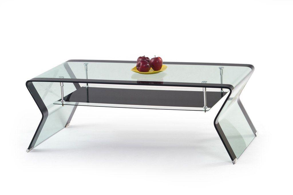 Luxe glazen salontafel met zwart glazen onderblad műköröm