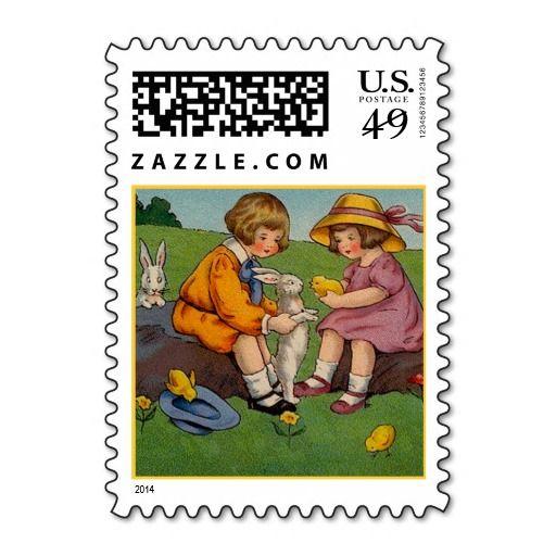 Vintage Easter Boy and Girl Stamp