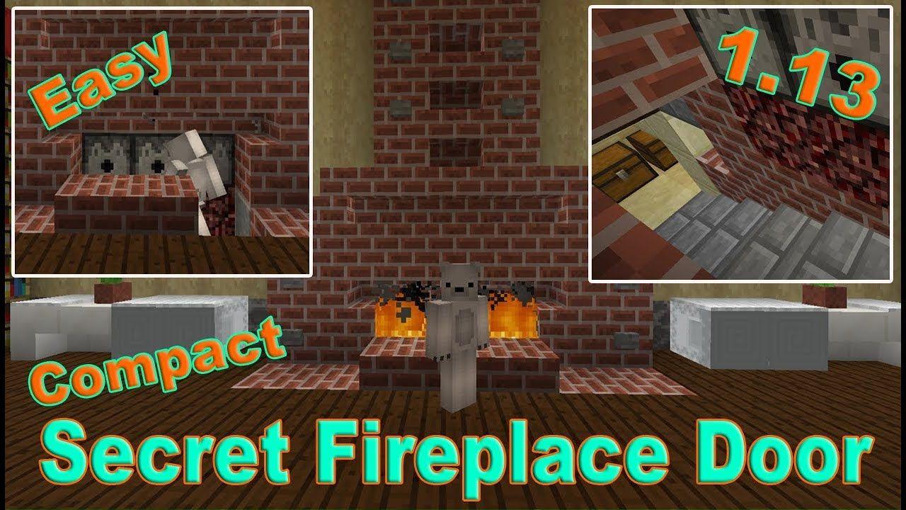 Minecraft Incredible Hidden Fireplace Door To Secret Base Aquatic Update 1 13 Minecraft1 13 Secretdoo Fireplace Doors Minecraft Redstone Minecraft Tutorial