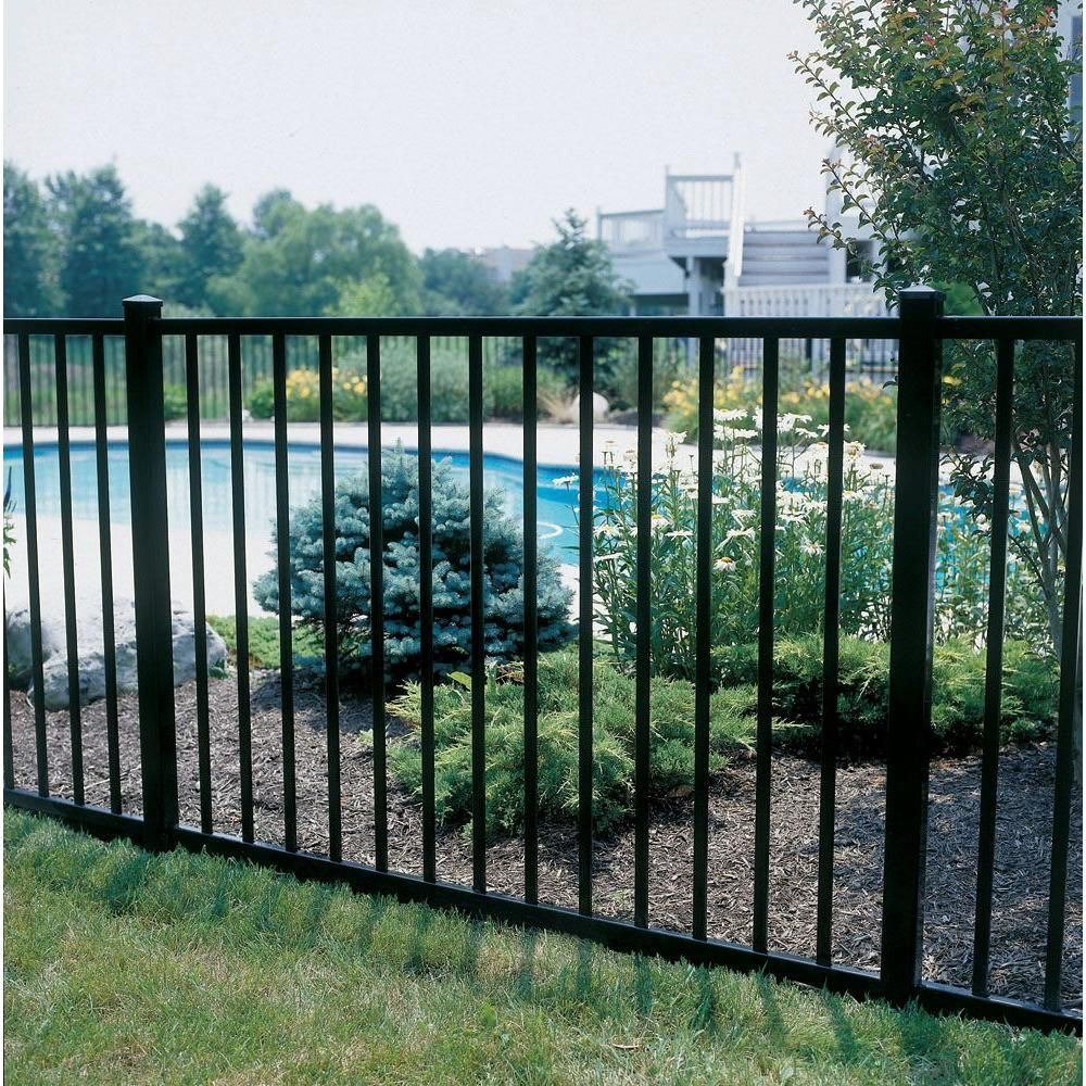 4 ft h x 6 ft w aluminum black unassembled metropolitan 2 rail aluminum black unassembled metropolitan fence sections the home depot baanklon Images