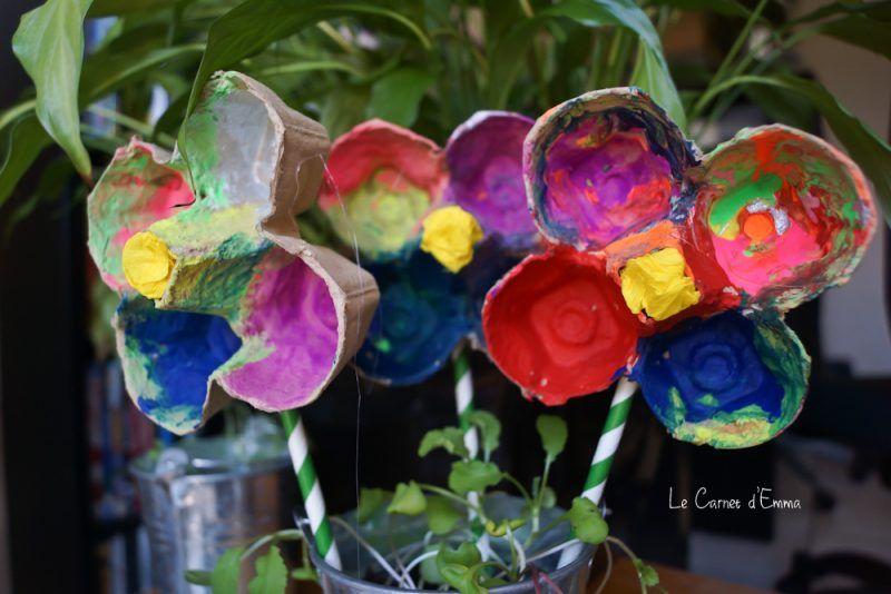 des fleurs en bo te ufs maman pinterest fleurs printemps activit manuelle et recyclage. Black Bedroom Furniture Sets. Home Design Ideas