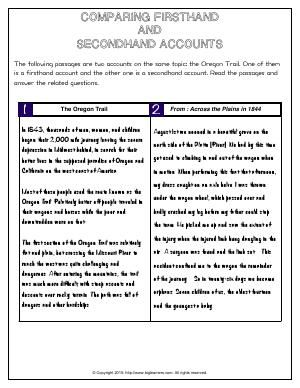 Worksheet | Comparing Firsthand and Secondhand Accounts | The ...