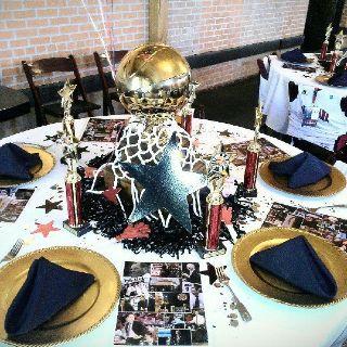 basketball themed table decor sports pinterest Soccer Themed Bar Mitzvah Centerpieces Bar Mitzvah Centerpieces for Tables