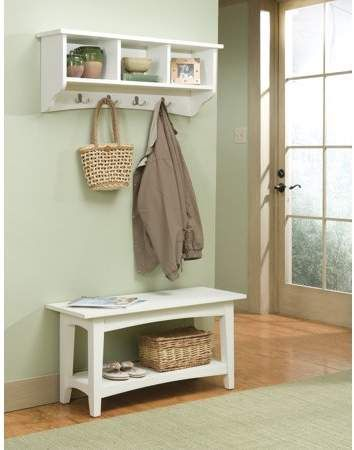 Alaterre Shaker Cottage Bench Coat Hook With Storage Ivory