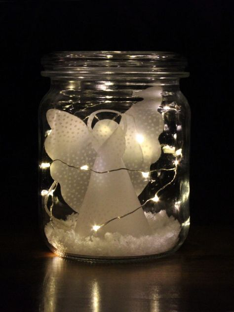 Weihnachtsengel & Schutzengel [Bastelvorlage & Plotterfreebie] - kugelig.com #weihnachtsdekoimglas