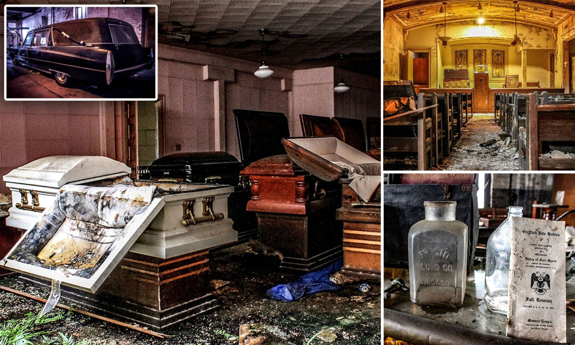 Eerie images abandoned funeral home where coffins are