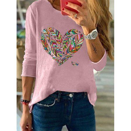 Women's Fashion Heart Printed Shirts Long-Sleeved
