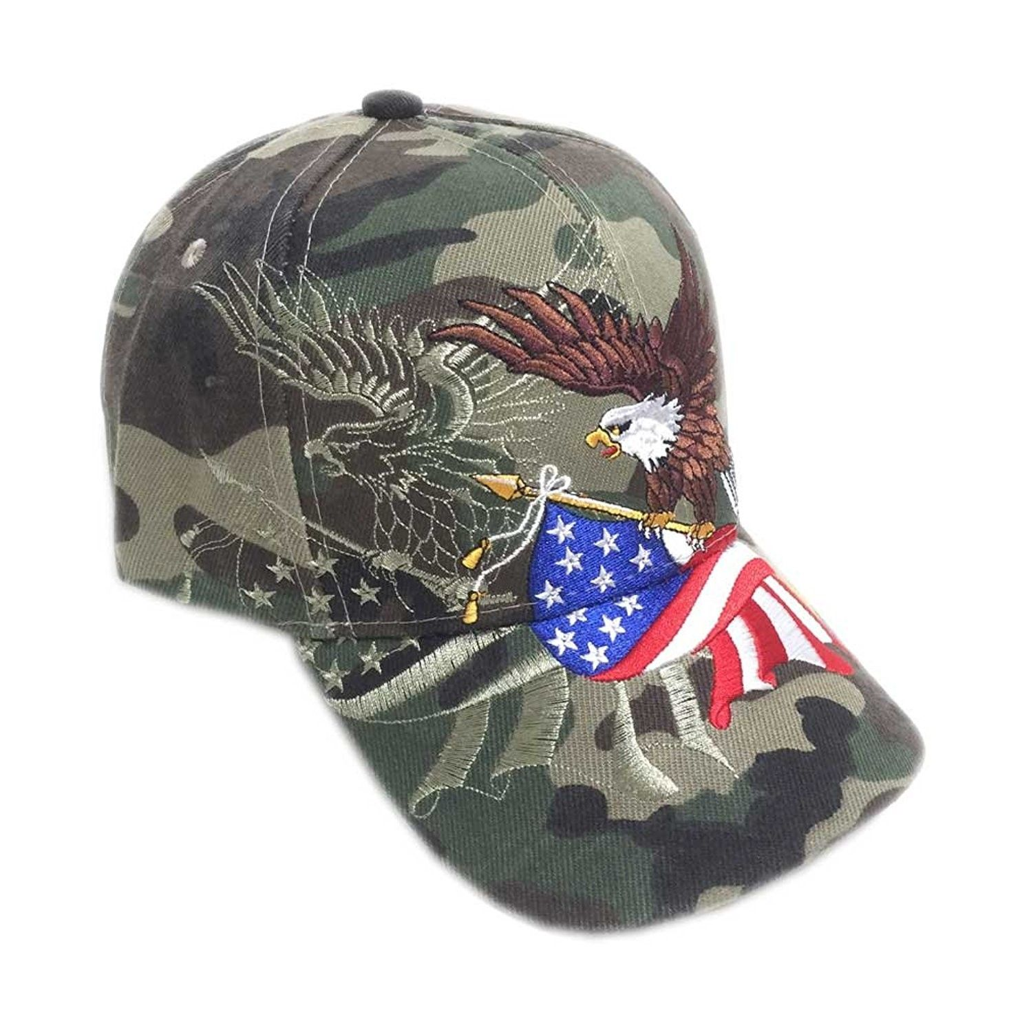 83d4fdad1e2 Patriotic American Eagle and American Flag Baseball Cap USA 3D Embroidery -  Military Camo - CC120061ZMR - Hats   Caps