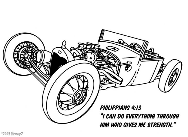 Classic Hot Rod Cart Coloring Sheet For Kids Transportation