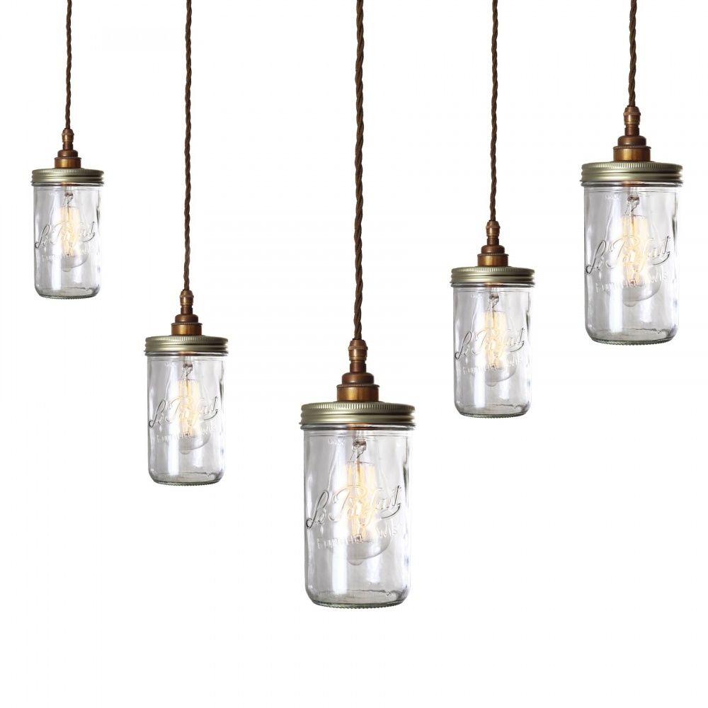 Jam jar pendant light cluster jars parfait glasses pendant