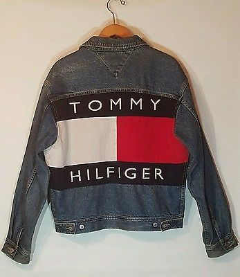 4b3f9f0470d35f Men's Vintage 90's Tommy Hilfiger Jeans Denim Jacket Colorblock Big Logo M