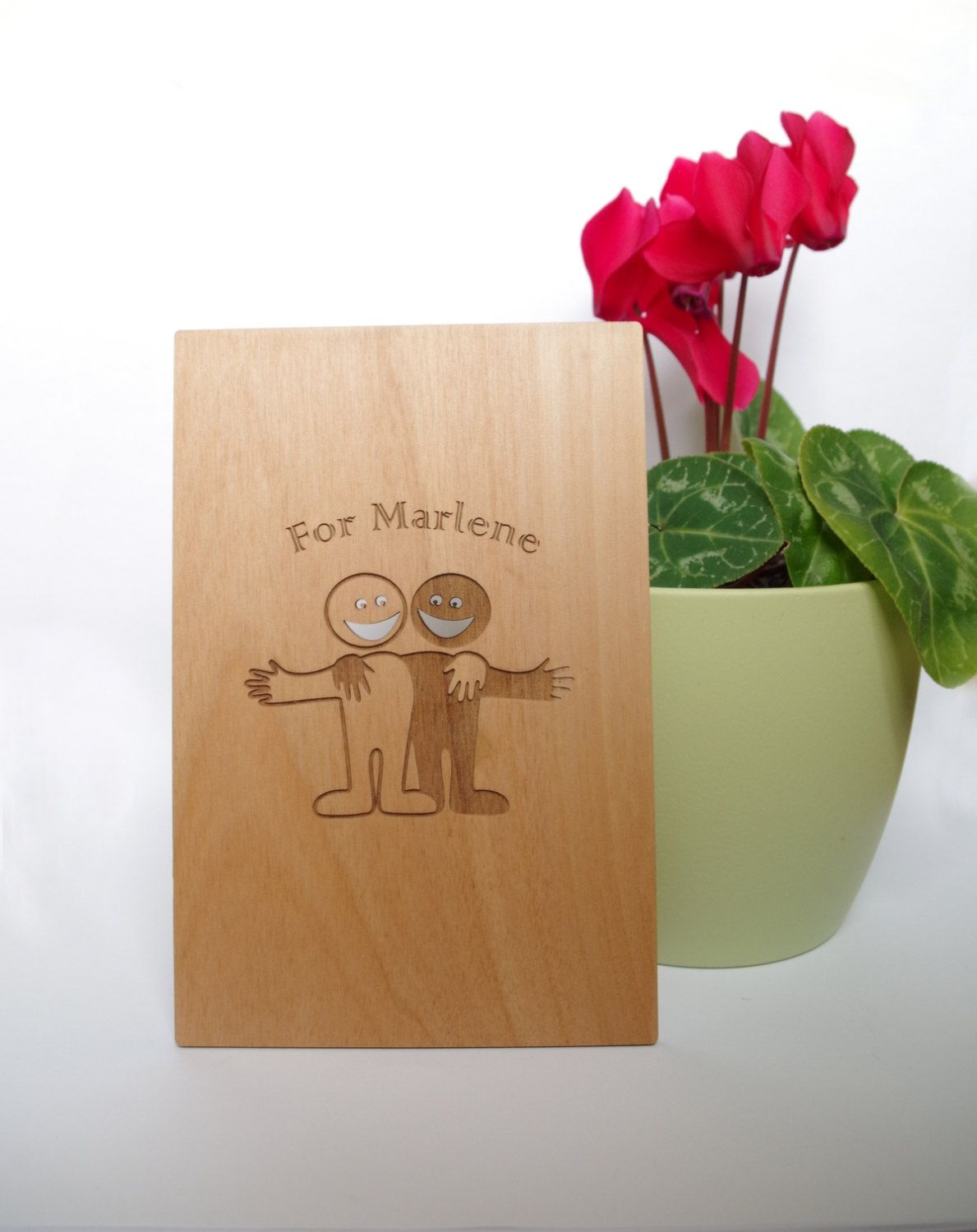 Wooden Greeting Card For Friends Special Greeting Card Friendship
