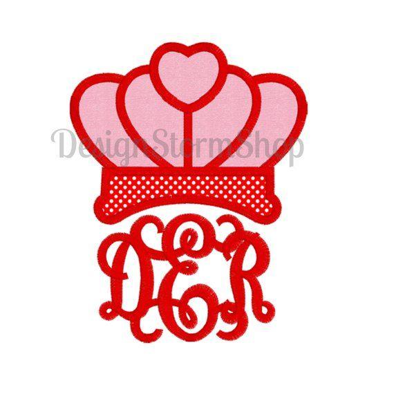 Crown Applique Design/Machine Embroidery Heart Crown Monogram Topper