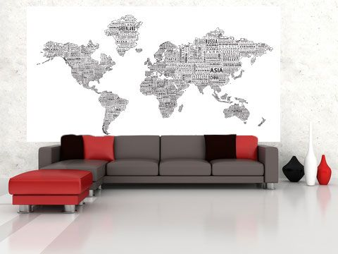 World text map mural black on white in room maps maps world text map mural black on white in room gumiabroncs Choice Image