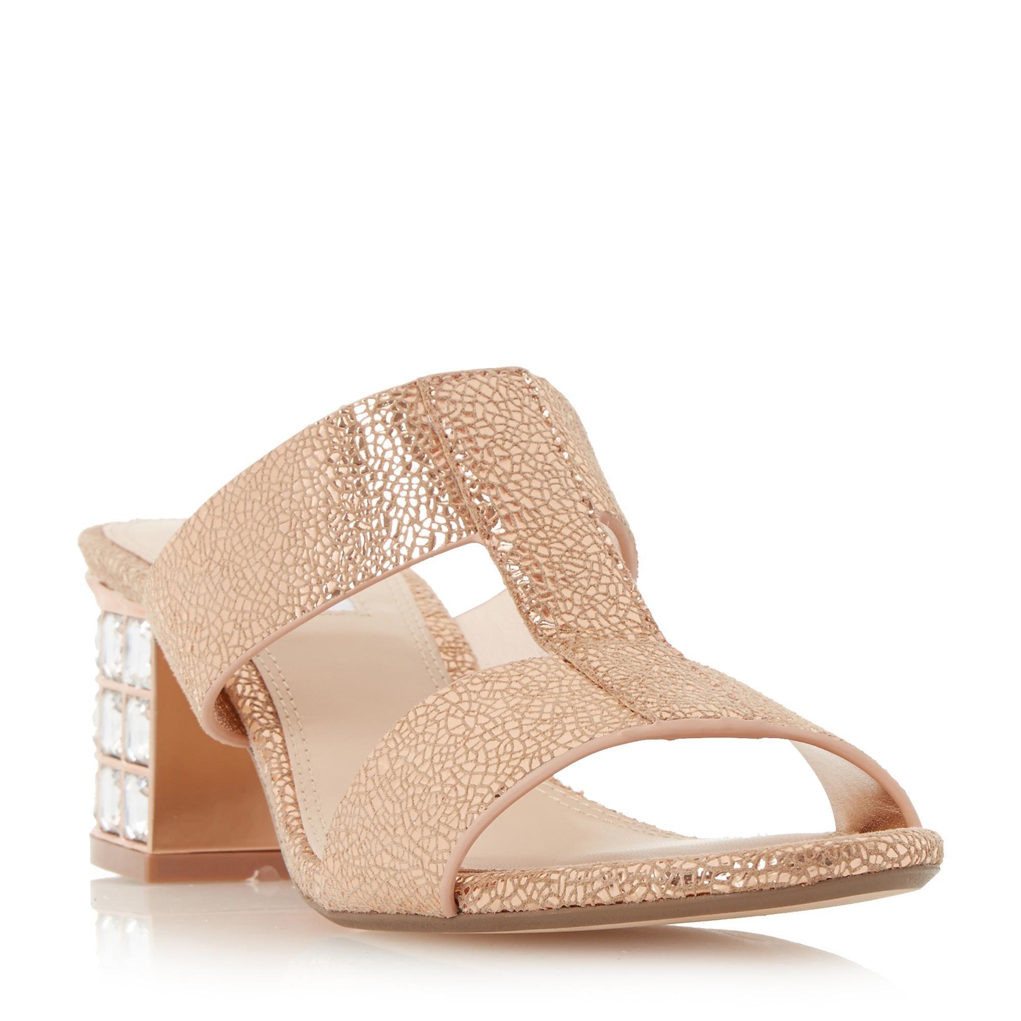 07ba13804d0 DUNE LADIES MULVENA - H-bar Jewelled Block Heel Mule Sandal - rose gold