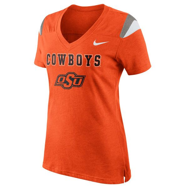 Nike Oklahoma State Cowboys Women's Logo Fan Top V-Neck T-Shirt - Orange - $17.99