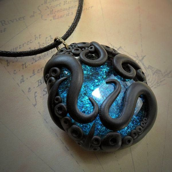 freaking beautiful tentacle and blue opal necklace