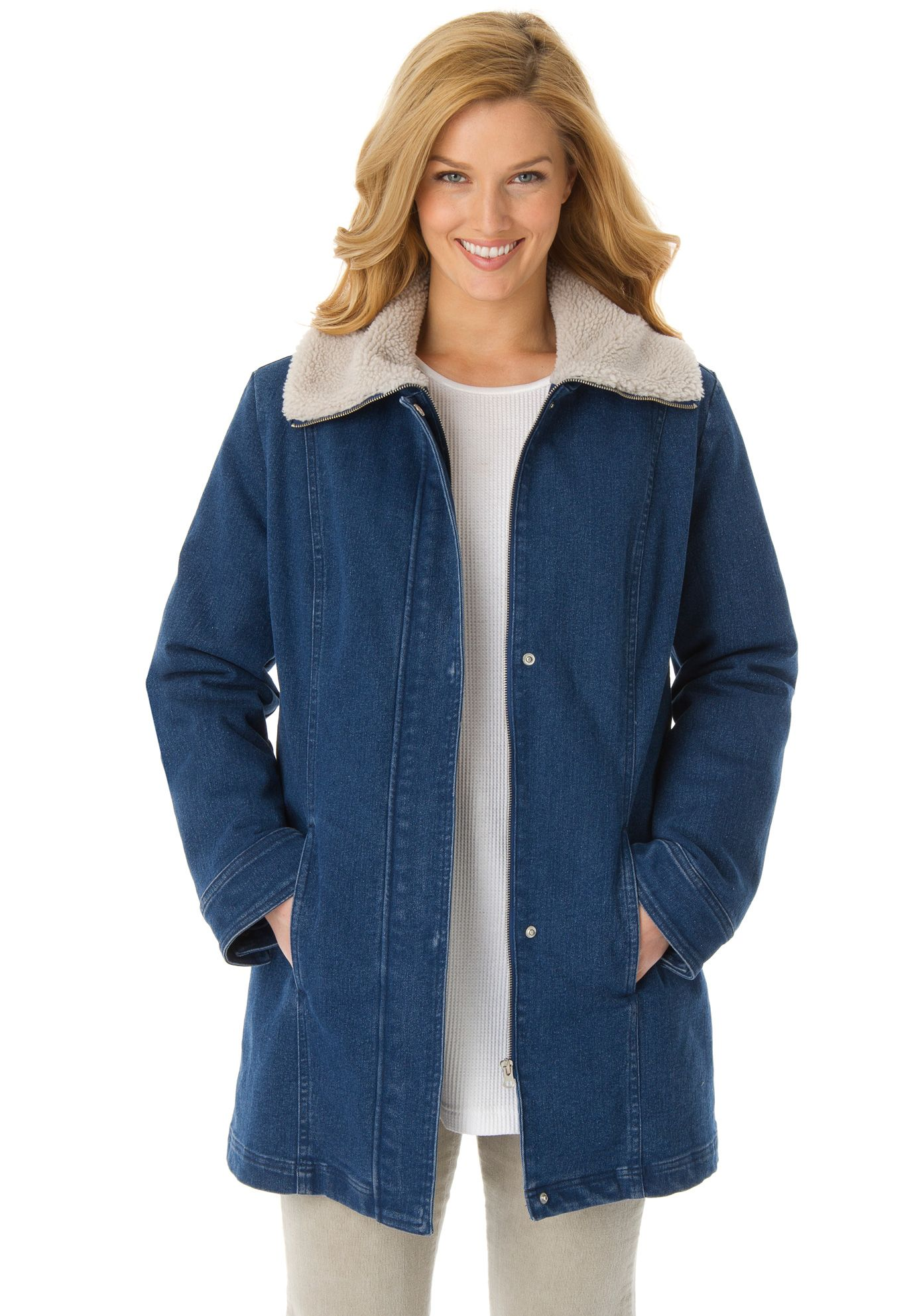 Quilt lined denim jacket with sherpa fleece wing collar overcoat