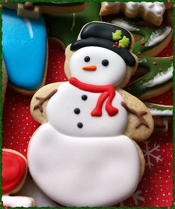 Christmas Snowman In Tophat Decorated Cookies Iced Biscuits