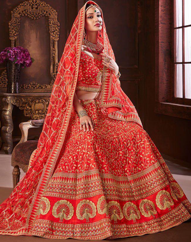 Buy Red color pure soft silk Indian wedding lehenga in UK