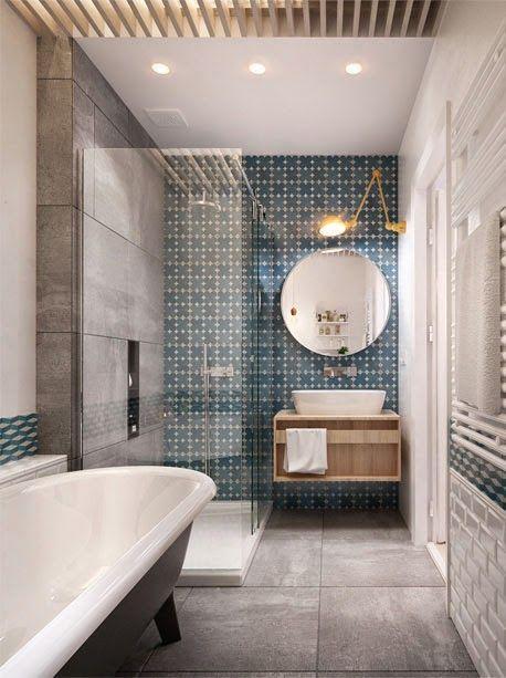 Salle de bain carrelage métro carreaux de ciment et bois ambiance ...
