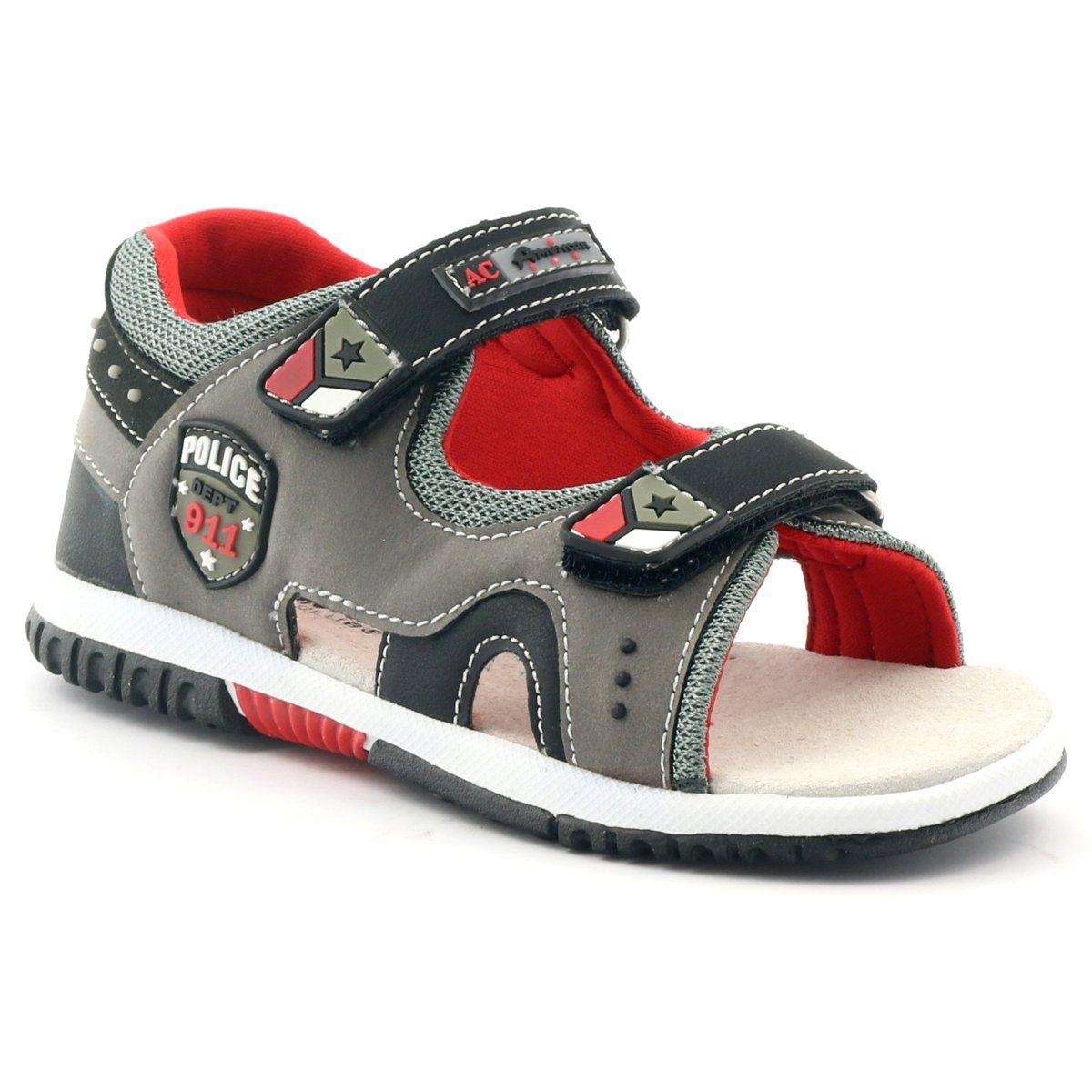 American Club Sandalki Chlopiece Police American 86583 Czerwone Szare Czarne Baby Shoes Sandals Birkenstock