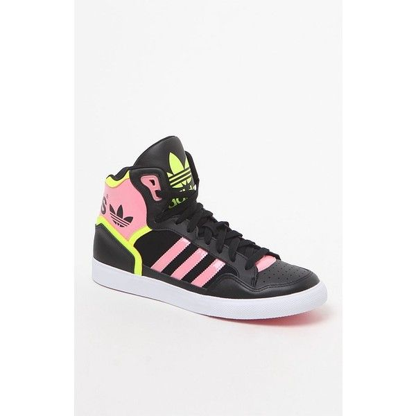 online retailer 7a8cf 8ca2e Adidas Extaball Black High-Top Sneakers ( 75) ❤ liked on Polyvore featuring  shoes
