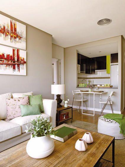 Un piso de 60 m2 con personalidad salon cocina sal n y for Decoracion pisos acogedores