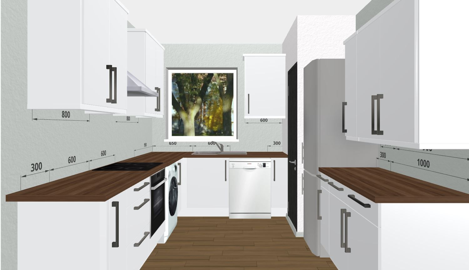 Large U Shaped White Shaker Kitchen With Wooden Worktops Use The