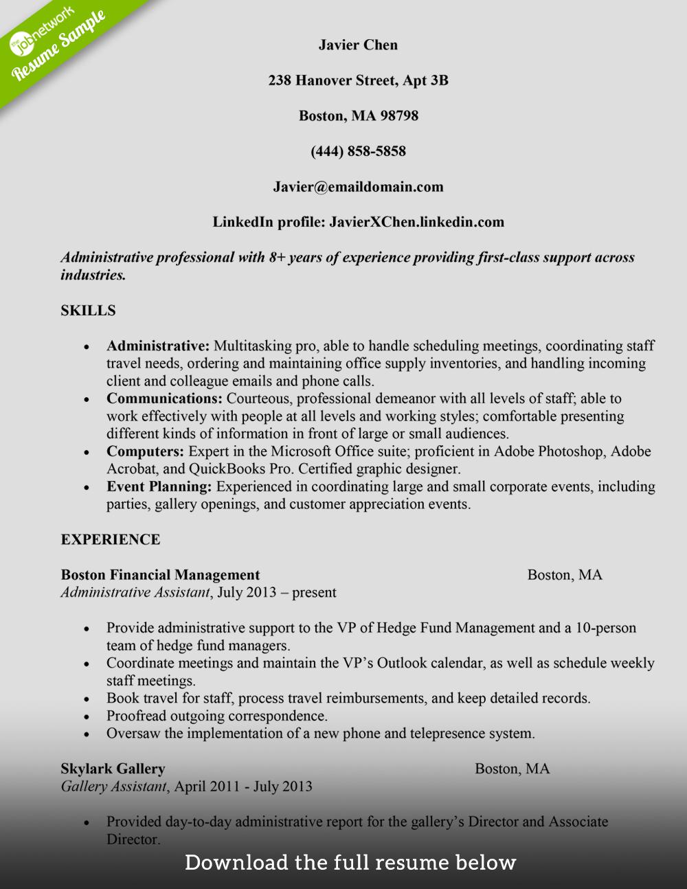 AdministrativeAssistantResumeJavierChen  JobSkills